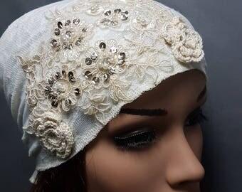 White Lace Tichel , Head Scarf , Chemo Headwear , Headscarves , White Head Wrap , Snood  , Jewish Head Coverings , Women Hats