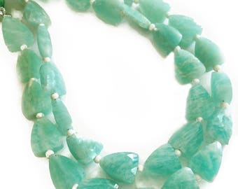 Brazilian amazonite faceted triangles.  Approx. 7.5x9mm.   Select a quantity.