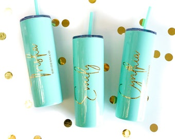 Bridesmaids Gift, Personalized Bridesmaid Cup, Skinny Tumbler, Gold Bridesmaid Tumbler, Maid of Honor, Bride Cup, Party Favor, Wedding Party