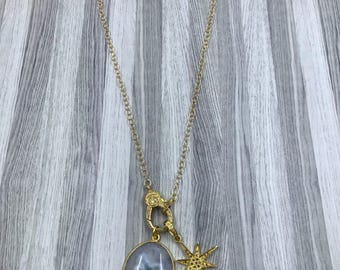 Gold Chain with Pave Diamond Lobster Claw.  Quartz pendant and Pave Diamond Star Pendant
