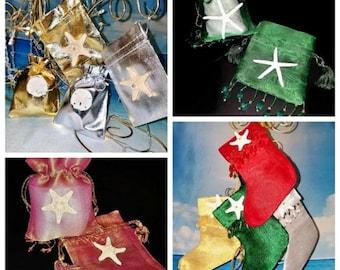INVENTORY SALE!! Coastal Beach Style Starfish Drawstring Organza Jewelry Small Holiday Gift Bag Christmas Stocking Wedding Candy Favor Bag