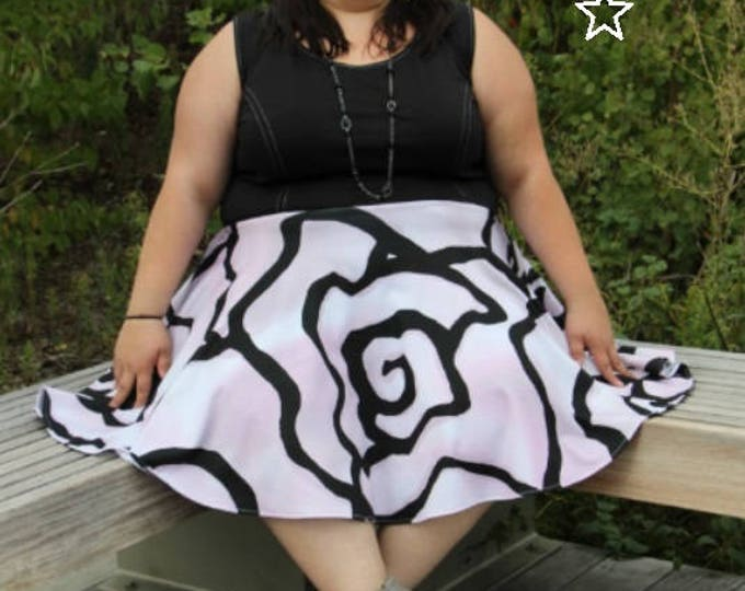 Featured listing image: SALE Plus Size Dress Pink Rose Print Womens Knit Dress, Roses Full Skirt Dress, Plus Size Dress, Pink Knit Plus Size Dress