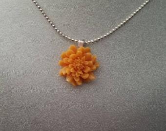 Fall Orange Flower Pendant