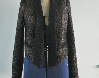 Disco, Glam Aryn K. Metallic Gold/Black Tinsle Jacket