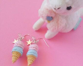 Cute Ice Cream Scoop Earrings, Miniature Food Earrings Jewelry Cute Kawaii Polymer Clay Food Jewelry Miniature Clay Food, Kawaii, Fairy Kei