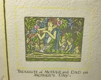 MOTHER'S DAY…1930's Art Deco Hand Painted, a Buzza Greeting Card, For Both Mother & Dad on Mother's Day, Unused
