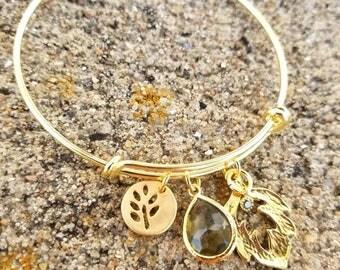 Adjustable Gold Autumn Leaf Charm Bangle Bracelet