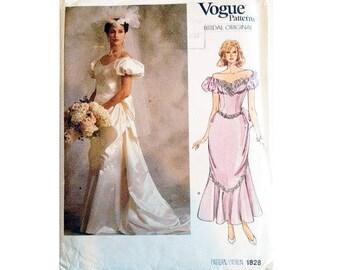 "UNCUT Vintage 80's Vogue Bridal Original Sewing Pattern #1828 Wedding Evening Bridesmaid Dress Gown Size Bust 34"" UK 12"