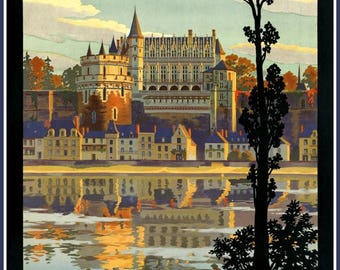 Art Print France Orleans Touraine Travel Poster Print-  1922