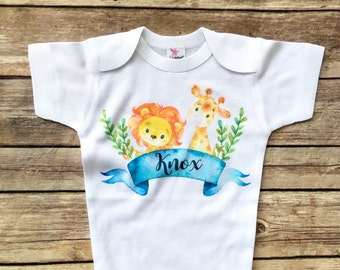 Personalized Baby Outfit, Baby Shower Gift, Newborn boy take home outfit, safari nursery, customized baby gift, newborn boy bodysuit