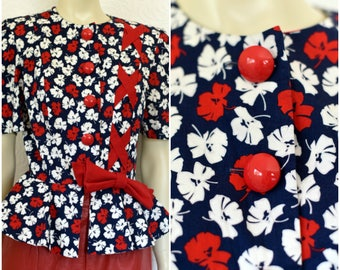 Vintage Womens Blazer | Puff Sleeve | Short Sleeve Blazer | Red White & Blue Jacket | Peplum Blazer | Short Sleeve Jacket | Floral Print