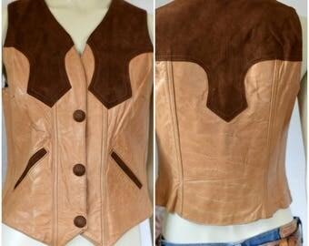 Vintage Leather Vest   Brown Suede Vest   Womens Leather Vest   Brown Leather Vest   Western Leather Vest   Cowgirl Vest   Cowboy Vest