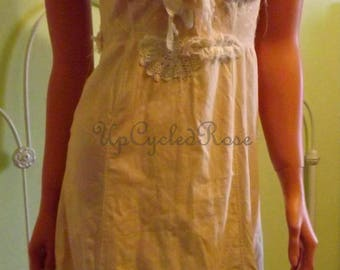 Up-cycled Vintage Slip Dress XS Tea Stained Shabby Chic Ready to Ship Free shipping in USA