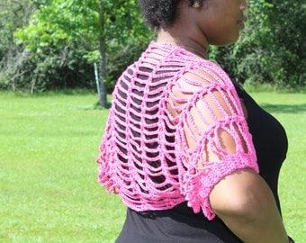 Hot Pink Chain Sleeve Crochet Shrug- Handmade