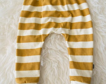 mustard and ivory stripe harem pants by little lapsi. ready to ship