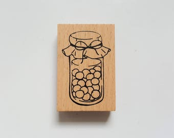 Wooden Rubber Stamp - Jar - Candy Jar