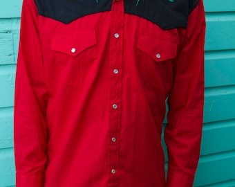 Vintage Western Roses Oxford Shirt Button Down Snap Closure Red + Black Southwestern Style Top Men's Size Large