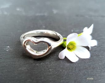 Heart Silver Ring - Sterling Silver 925 - Open Heart Ring - Minimalist Ring - Gift for her - Handmade Jewelry - Dainty Ring