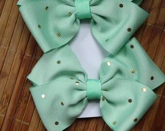 Mint green hair clips