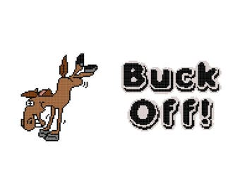 Buck Off Cross Stitch PDF Pattern