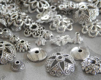 200 piece bead caps MIX metal silver 4 mm-15 mm of various shapes and sizes