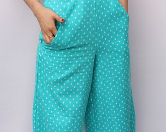 Turquoise brushed cotton culottes in soft pastel pink UK Size Extra Small 6-8 floral trousers flares handmade by The Emperor's Old Clothes