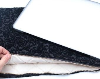 Black floral velvet laptop case bag apple laptop rose print case protective computer bag handmade The Emperor's Old Clothes