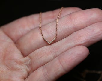 Tiny Diamond Chevron Necklace / 14K Solid ROSE Gold / Pave, Layering, Geometric, Everyday, Modern, Minimalist, V, Delicate, Dainty