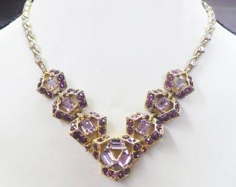 RESERVED For ROBIN - Stunning Vintage Authentic Signed BOGOFF Purple/Lavender Rhinstone Necklace - gold tone metal - hook closure - designer