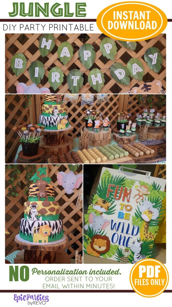 Jungle Party Printable Instant Download Jungle Birthday