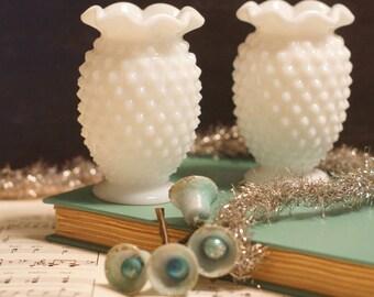 2 Hobnail Milk Glass Mini Crimped Vases unmarked Fenton