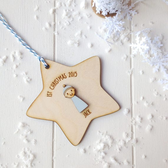 Baby Boy's First Christmas Decoration - Personalised tree decoration - 1st christmas gift