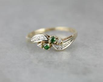 Green Garnet Diamond Bypass Ring, Garnet Stacking Band XF5FD1-R