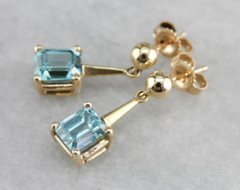 Blue Zircon Drop Earrings, Zircon and Yellow Gold, Bridal Jewelry, Something Blue HZ0RAT-P