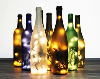 Frosted Wine Bottle Lamp - Wine Gift, Gift for Mom, Mothers Day Gift, Gift for Her, Wine Bottle Decor, Bottle Light, Wine Decor, Wine Gift