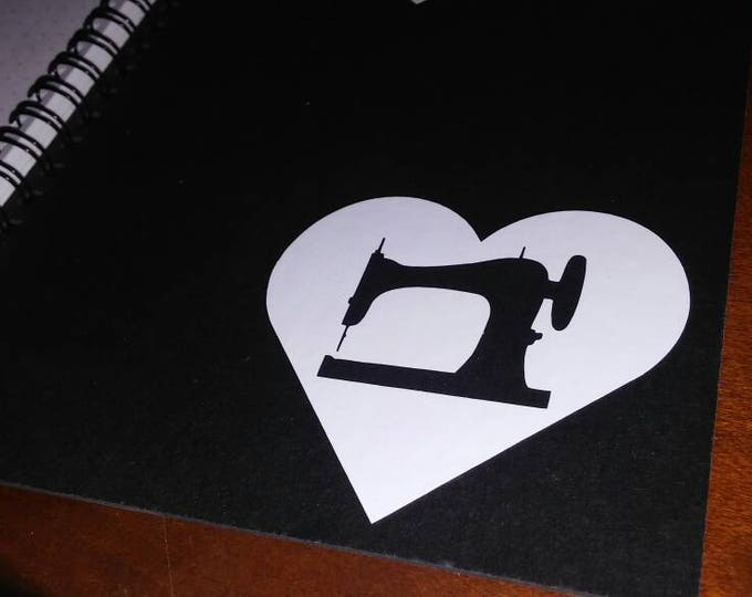 Vintage Sewing Machine Love Heart Vinyl Decal FREE SHIPPING