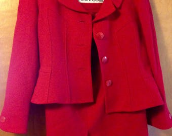 1960s Vintage Saks Fifth Avenue Jackie O Suit in Retro Red! Sz 12
