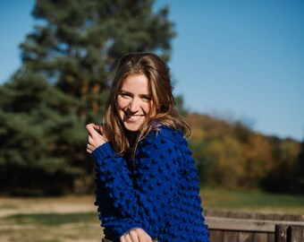 Women's Sweater, Women's Pullover, Bubble sweater, Blue polka dot sweater, Sweater with dots, Merino wool sweater, Handmade sweater