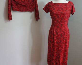 1950's Wiggle Dress and Jacket // Red Floral // Small