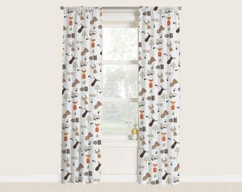 Woodland Animals Window Curtains For Baby Boy Nursery Fox Bear Bunny Moose  Forest Animals Woodland Critters