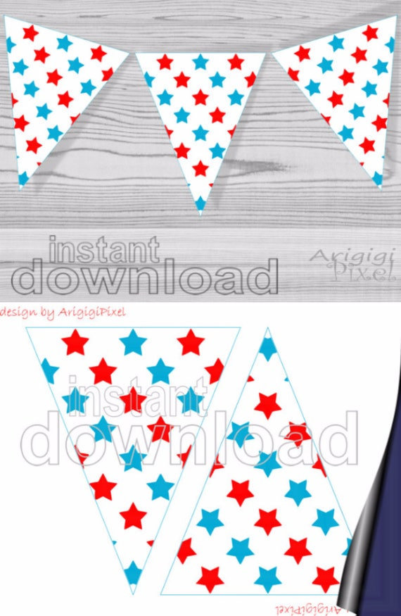 Blue Red Spangled Stars Printable Banners - DIY patriotic holiday decoration