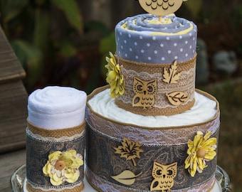Burlap Owl Diaper Cake - Baby Shower Decor - Flannel Blanket Cake - Fall Theme Baby Shower - Rustic Owl Baby Shower - Autumn Baby Shower
