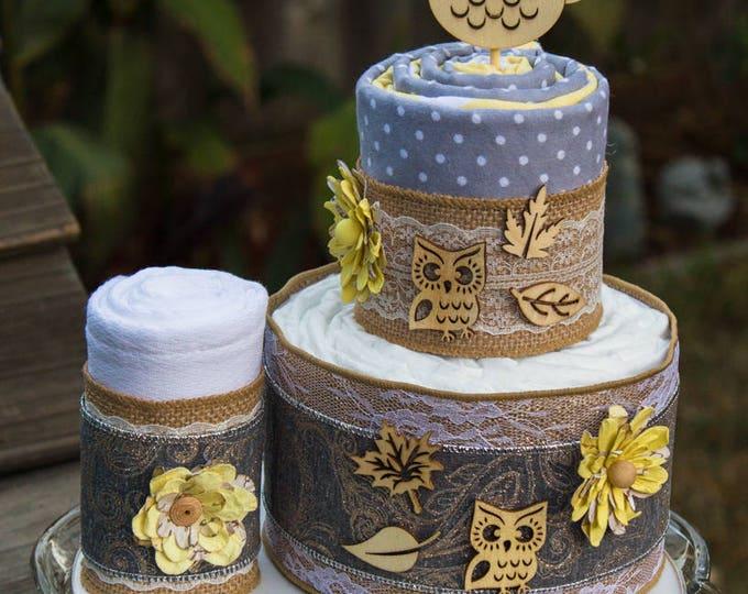 Burlap Owl Diaper Cake   Baby Shower Decor   Flannel Blanket Cake   Fall Theme Baby Shower   Rustic Owl Baby Shower   Autumn Baby Shower