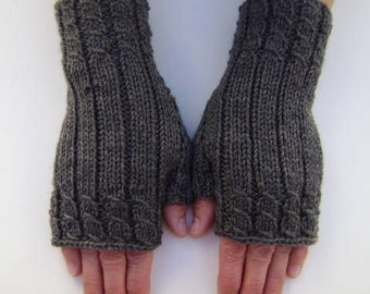 Hand- Knit Fingerless Gloves in Dark Grey. Fingerless Mittens. Wrist warmers. Knit Hand Warmers. Gift for Her.