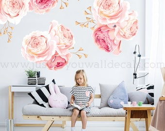 Flower Wall Decal, Floral Wall Decal, Watercolor Wall Decals, Flower Wall Stickers, Watercolor Flower Wall Decal, Nursery Wall Decal 04-0004