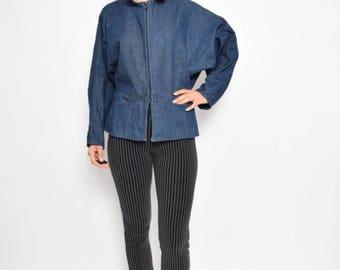 Vintage 80's Batwing Blue Denim Jacket