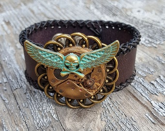 Flying Skull Mechanism Steampunk Leather Wristband Cuff -Bracelet-Steampunk Bracelet-Steampunk cuff-steampunk outfit ladies gift