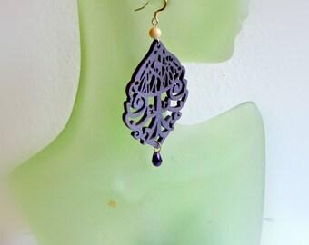 Bold purple crystal teardrop wooden earrings  Large wood earrings  Wood gift ideas for wife  Chunky statement earrings