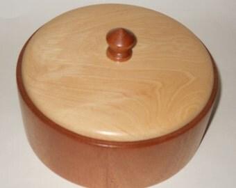 Round Lidded Mahogany and Hickory Keepsake Box