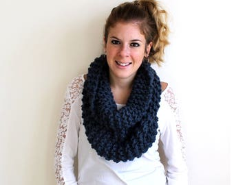 Chunky Knitted Scarf Cowl Denim- Potomac Cowl